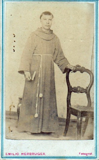 1880s Antique Portrait of a Franciscan friar at taken at the studio Fotografía Central by Emilio Herbruger Hijo or Junior.