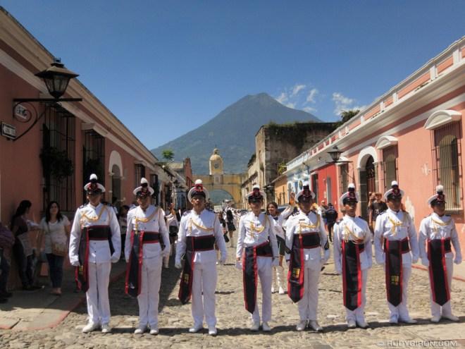 Rudy Giron: Antigua Guatemala &emdash; School Parade by Calle del Arco, Antigua Guatemala