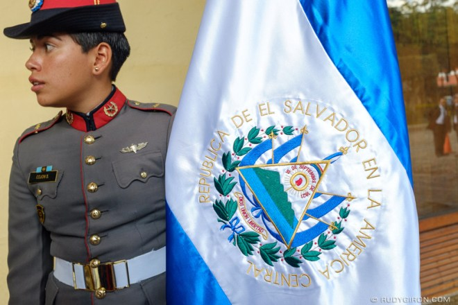 Rudy Giron: Antigua Guatemala &emdash; Independence Day Decorations — El Salvador Flag