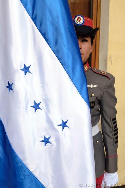 Rudy Giron: Antigua Guatemala &emdash; Independence Day Decorations — Honduran Flag