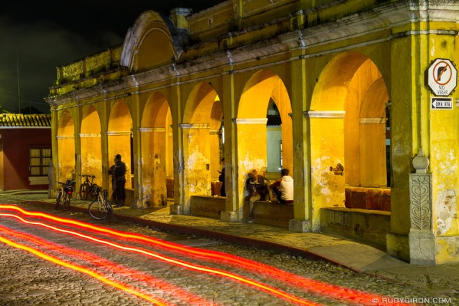 Rudy Giron: Antigua Guatemala &emdash; Night vista of Pilas de Santa Clara