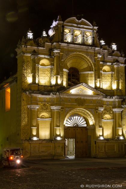 Rudy Giron: Antigua Guatemala &emdash; Night vista of Parroquia de Obras Sociales del Hermano Pedro