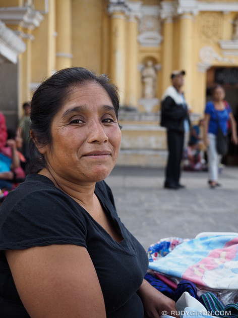 Rudy Giron: Antigua Guatemala &emdash; Street vendor selling tamales outside a church