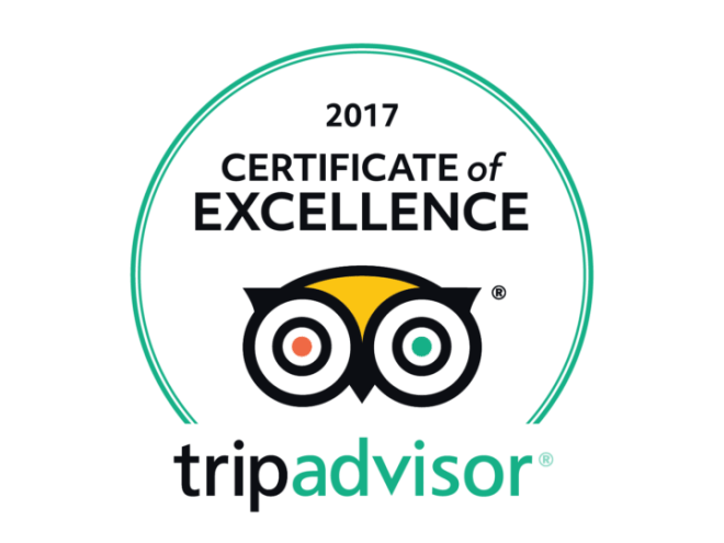 2017 Certificate of Excellence by Trip Advisor