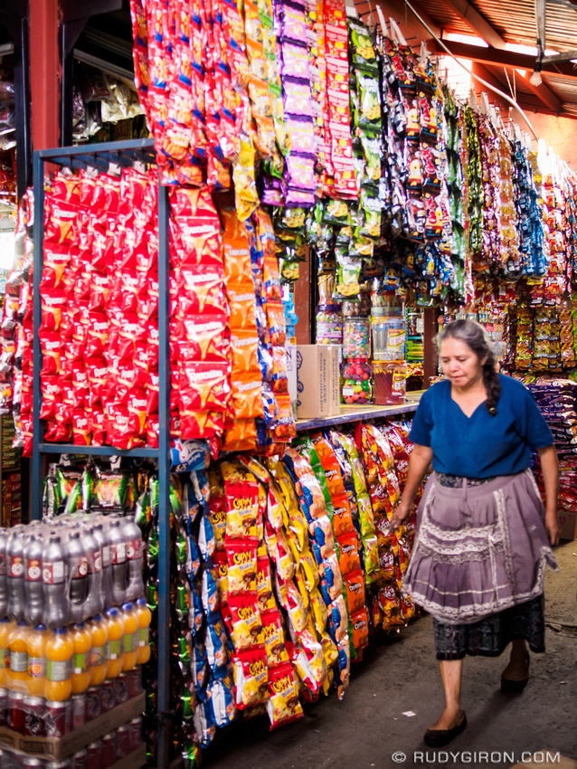 Rudy Giron: Antigua Guatemala &emdash; Junk food piles in Antigua Guatemala market