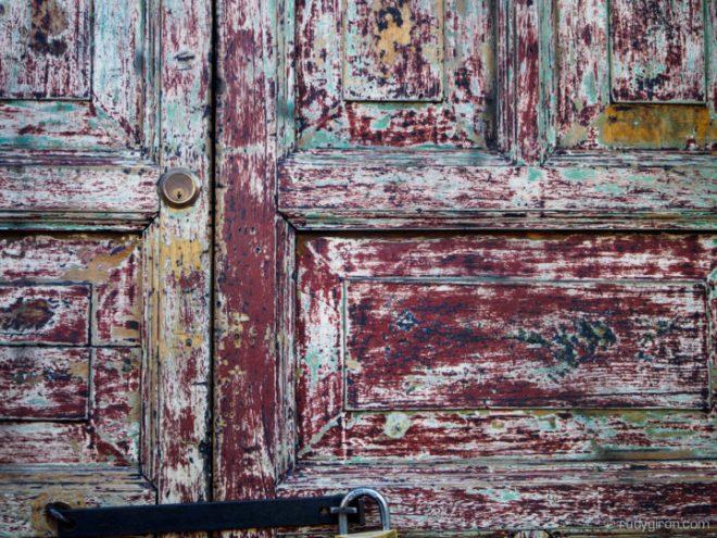 Textures of Antigua Guatemala — Green and red door