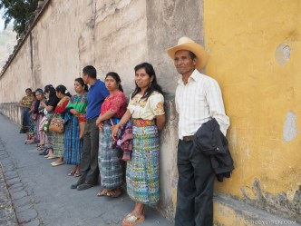 Tourists waiting for their bus in Antigua Guatemala BY RUDY GIRON