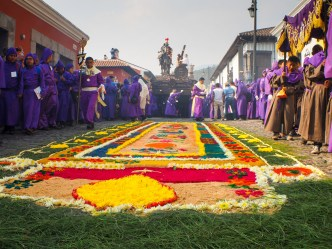Colorful Processional Carpet from Antigua Guatemala BY RUDY GIRON