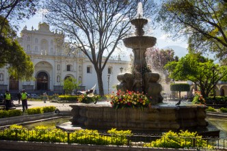 Morning Vista of Parque Central of Antigua Guatemala by RUDY GIRON