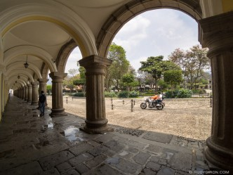 Framed view of Parque Central in Antigua Guatemala
