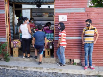 PHOTO STOCK: Queue at Veggie Stand in a village of Antigua Guatemala