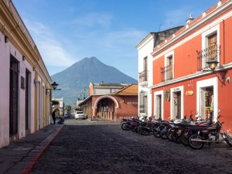 PHOTO STOCK: Colossal Volcán de Agua Towering the Colorful City of Antigua Guatemala