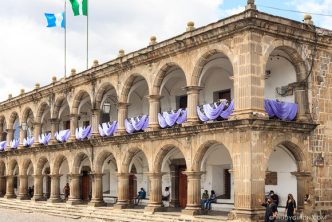 PHOTO STOCK: Lenten Decorations at Palacio del Ayuntamiento in Antigua Guatemala
