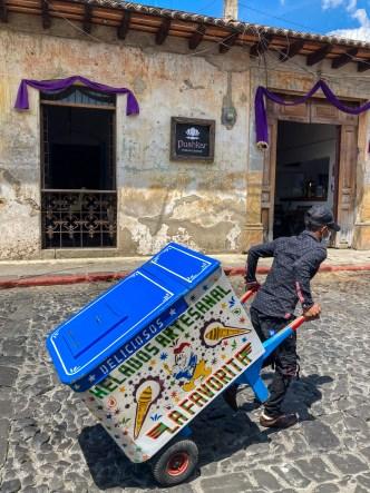 Sights of Antigua Guatemala: Traditional Ice Cream Cart on the Go