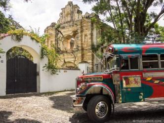 Sights of Antigua — Ruinas de Santa Rosa and a Colorful Bus