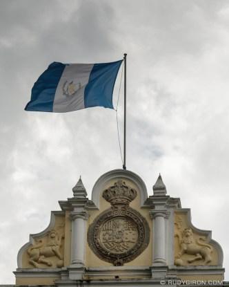 PHOTO STOCK: Guatemalan Flag at Real Palacio de La Cultura by RUDY GIRON