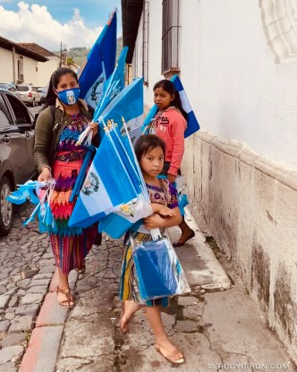 PHOTO STOCK: Guatemalan Flags Ambulant Vendors