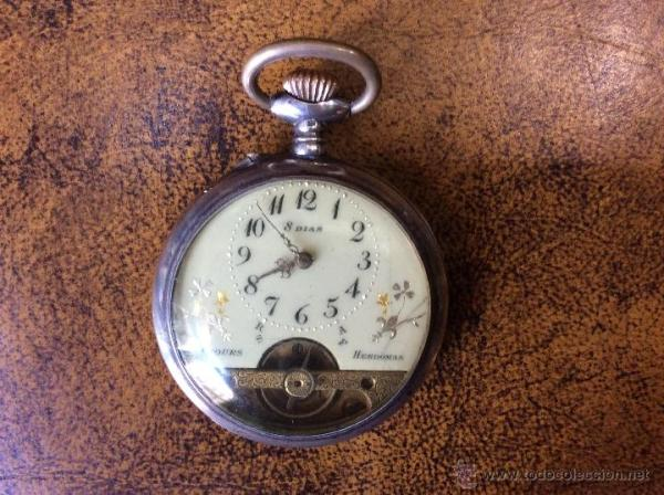 Reloj de Bolsillo Hebdomas 8 Jours de Plata. EnFuncionamiento