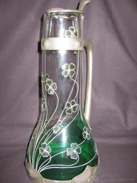 Jarra Art Nouveau de Estaño y Cristal Grabado al Acido.