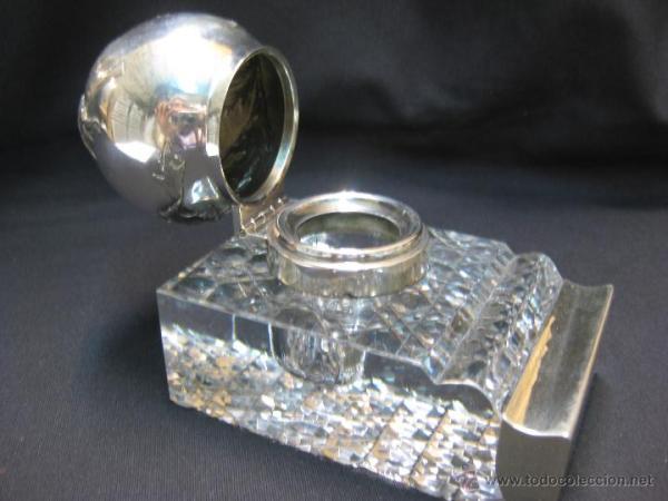 Tintero Art Deco. Cristal y Plata.