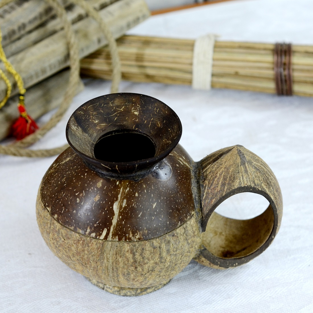Handmade Coconut Shell Dry Fruits Container With Handle