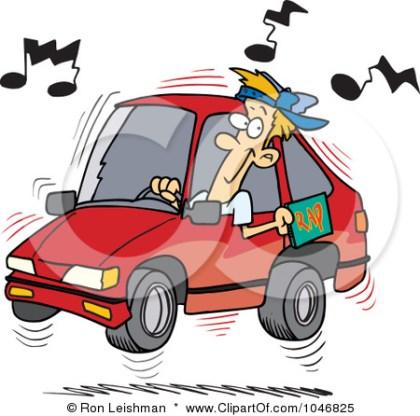 1046825-Royalty-Free-RF-Clip-Art-Illustration-Of-A-Cartoon-Man-Blaring-Rap-Music-In-His-Car