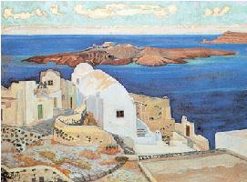 ΚΩΝΣΤΑΝΤΙΝΟΣ ΜΑΛΕΑΣ, «Σαντορίνη»,π.1924-25,   Εθνική Πινακοθήκη Επηρεασμένος ιδιαίτερα από τον μεταϊμπρεσιονισμό, ο Κωνσταντίνος Μαλέας ανήκει στους καλλιτέχνες που με γενναιότητα εισήγαγαν στην Ελλάδα τις νέες αντιλήψεις της μοντέρνας ζωγραφικής, ακόμη και αν οι κριτικοί τις περισσότερες φορές δεν ήταν με το μέρος του.Η «Σαντορίνη» είναι από τα σπουδαιότερα και πιο γνωστά έργα του.
