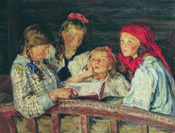 Διαβάζοντας ένα βιβλίο -Nikolay Bogdanov-Belsky 1915