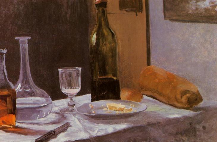 Νεκρή φύση με μπουκάλι, καράφα, ψωμί και κρασί -Claude Oscar Monet - 1863