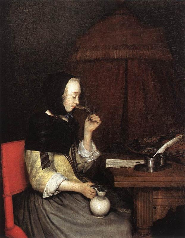 Γυναίκα πίνει κρασί- Gerard Terborch 1657