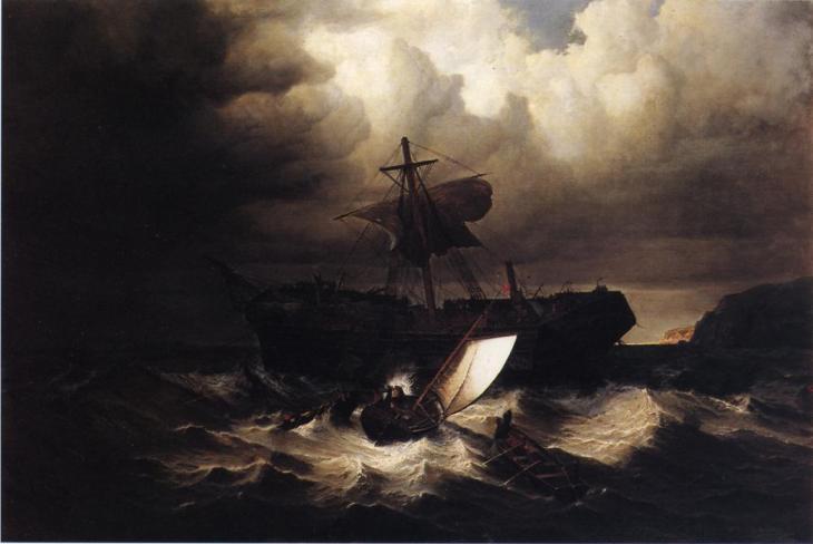 Ναυάγιο ενός μεταναστευτικού πλοίου στις ακτές της Νέας Αγγλίας - William Bradford - 1869