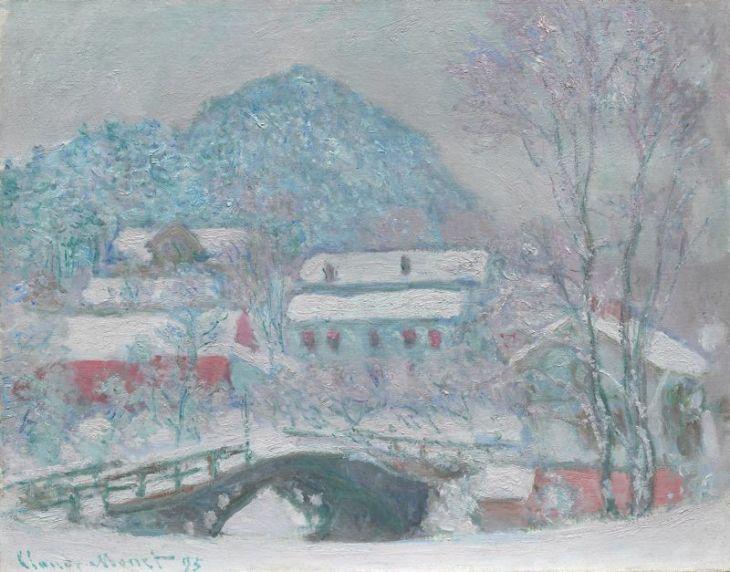 Μονέ, Sandviken, Νορβηγία, Χωριό στο χιόνι, 1895