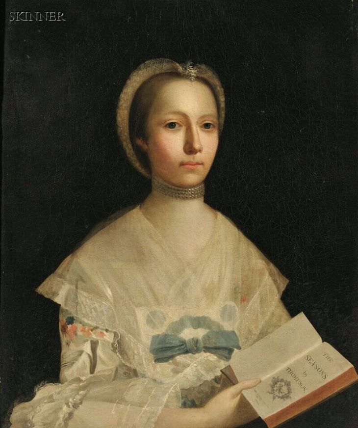 Attributed to Allan Ramsay (1713-1784, Scottish / Portrait of a Lady Holding a Book of Verse, unsigned, identified on a presentation plaque