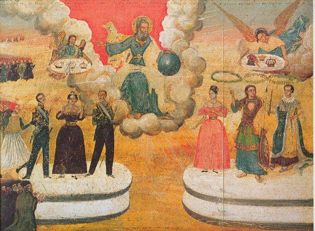 Π. Ζωγράφος - Ι. Μακρυγιάννης. Τέμπερα σέ ξύλο, 39,5x56 εκ. 1836. Η ΔΙΚΑΙΑ ΑΠΟΦΑΣΙΣ ΤΟΥ ΘΕΟΥ ΔΙΑ ΤΗΝ ΑΠΕΛΕΥΘΕΡΩΣΙΝ ΤΗΣ ΕΛΛΑΔΟΣ