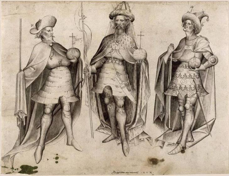 """Οικουμενικοί ηγεμόνες της Χριστιανοσύνης σε ρεαλιστική απεικόνιση του 1424, από αριστερά προς τα δεξιά: 1) Σιγισμούνδος των Λούξεμπουργκ, ρήγας της Ουγγαρίας (1387-1437), ιμπεράτωρ Γερμανίας (επίσης Αλαμαννία ή Νιμιτζία, 1410-37) και βασιλεύς Βοημίας (1419-37) 2) Μανουήλ Β' Παλαιολόγος, βαcιλεύς αυτοκράτωρ Ρωμαίων (1391-1425), και 3) Ερρίκος (Πολωνός, γεννηθείς Μπόγκουσλαβ Γρυφίδης), που μέσω της Ενώσεως του Κάλμαρ κυβερνά ως """"ρηξ Δανών, Σουηδών, Νορβηγών, Βενδών (οι Σλάβοι της Πομερανίας) και Γότθων (Γοτλάνδη)"""", σε: i. Νορβηγία, 1389-1442, ii. Δανία, 1396-1439, iii. Σουηδία, 1396-1439"""
