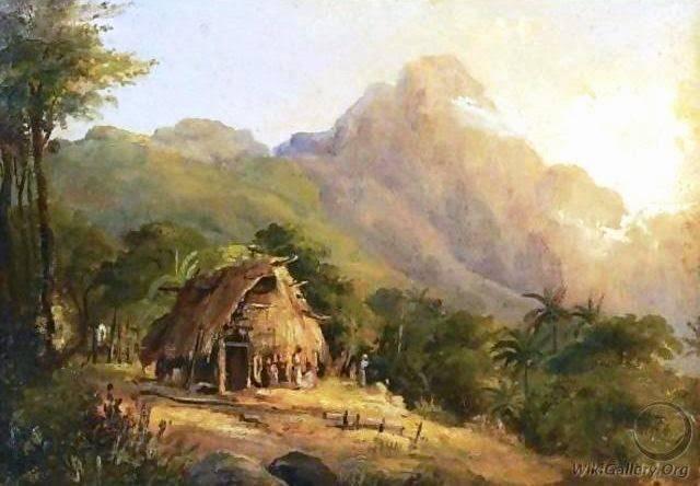 Hutte Dans Un Paysage De Montagne, Galipan by Camille Pissarro