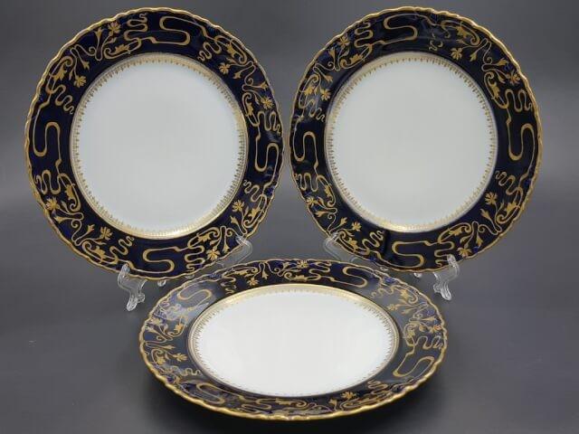 Кобальтовые тарелки модерн Кузнецов до 1917 года