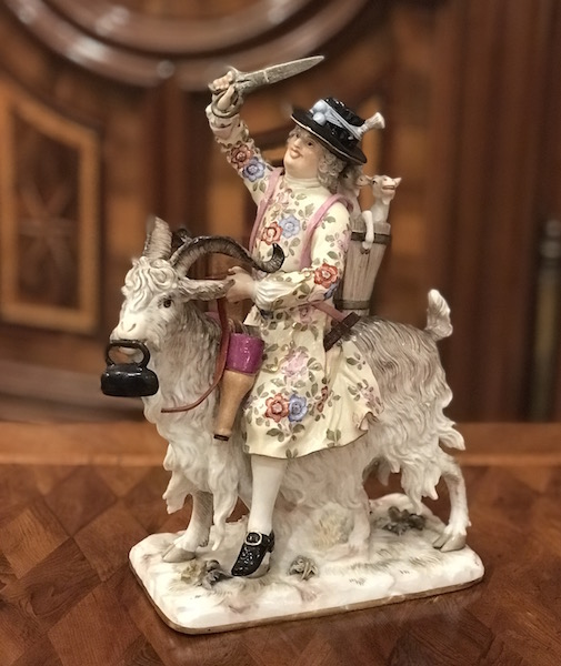 Meissenfigur Schneider auf Ziegenbock