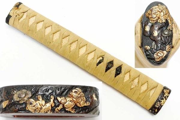 Купить японский комплект рукоятки меча катана сюжет Львы ...