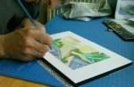 le travail sur l'aquarelle de la villa Hallé petit format 1