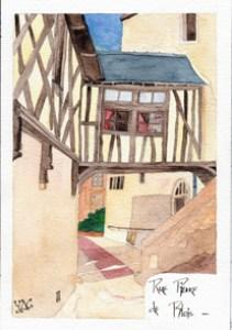 première phase d'aquarellage de la rue Pierre de Blois
