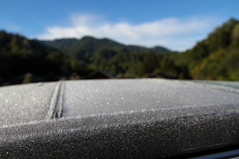 Le toit du van au réveil, trop froid pour aujourd'hui