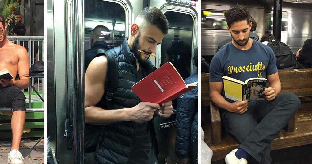 Девушка снимает на фотоапарат красивых парней, которые читают книги