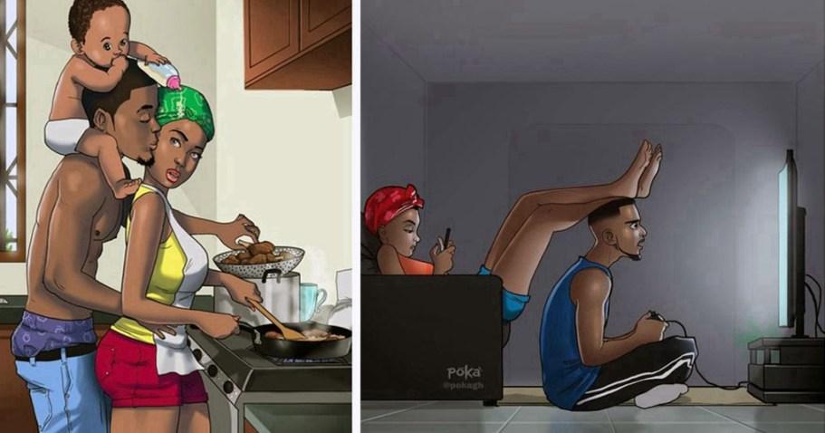 Эти иллюстрации показывают жизнь влюбленных пар