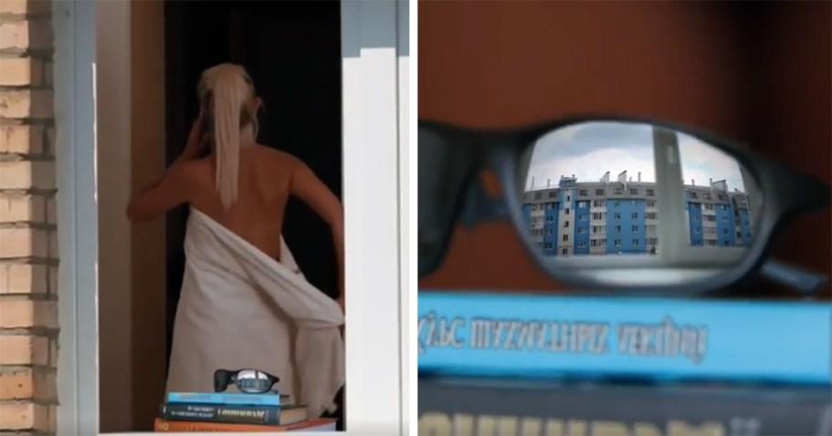 Автор видео решил похвастать крутым зумом и начал подглядывать за соседкой, сняв вирусный ролик