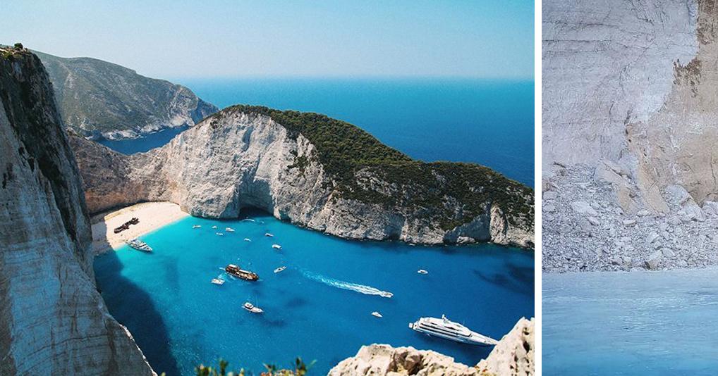 На известном греческом пляже скала обрушилась прямо на отдыхающих