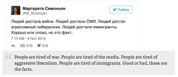 Tweet: Ľudia sú už z vojny unavení. Ľudia už majú dosť všetkých médií. Ľudia majú dosť agresívneho liberalizmu. Majú dosť celej imigrantskej krízy. Či dobré alebo zlé, sú to prosté fakty.