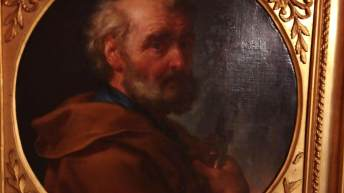 Vendita quadro antico on line; dipinto tondo olio su tela, periodo '700