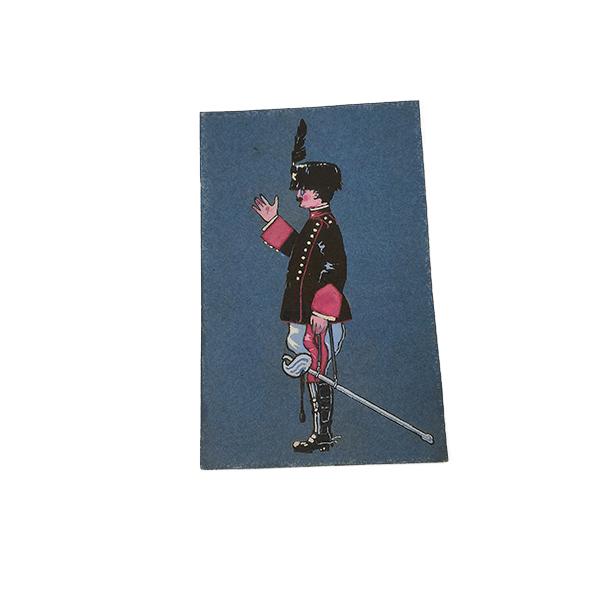 cartolina dipinta a mano ad acquerello con carabiniere, anni '50