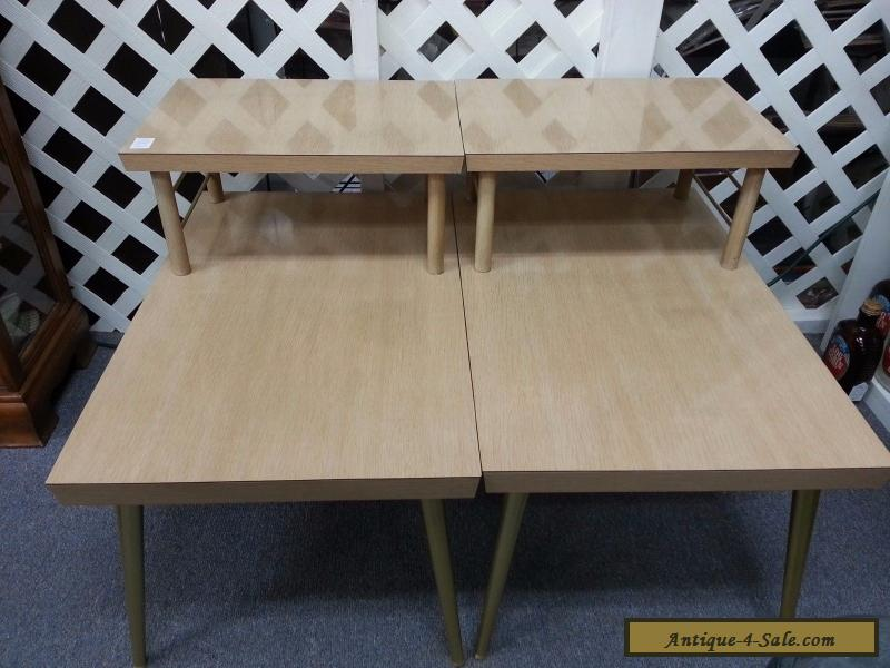2 tier coffee end tables blonde finish